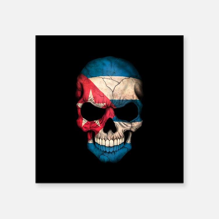 Cuban Flag Skull on Black Sticker