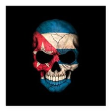 "Cuban Flag Skull on Black Square Car Magnet 3"" x 3"
