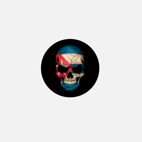 Cuban Flag Skull on Black Mini Button