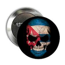 "Cuban Flag Skull on Black 2.25"" Button"