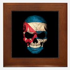 Cuban Flag Skull on Black Framed Tile
