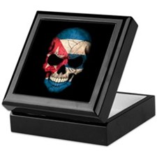 Cuban Flag Skull on Black Keepsake Box