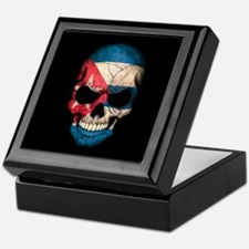 Cuban Flag Skull on Black Keepsake Box