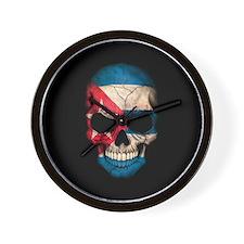 Cuban Flag Skull on Black Wall Clock