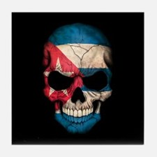 Cuban Flag Skull on Black Tile Coaster