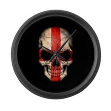 English Flag Skull on Black Large Wall Clock