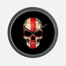 English Flag Skull on Black Wall Clock