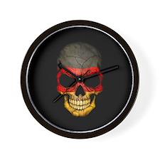 German Flag Skull on Black Wall Clock