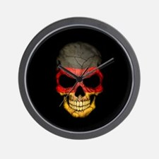 German Flag Skull on Black Wall Clock