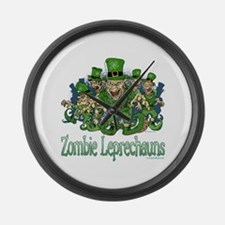 Zombie Leprechauns Large Wall Clock