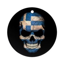 Greek Flag Skull on Black Ornament (Round)