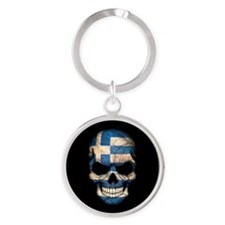 Greek Flag Skull on Black Keychains