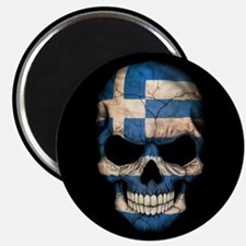 Greek Flag Skull on Black Magnets