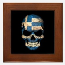 Greek Flag Skull on Black Framed Tile