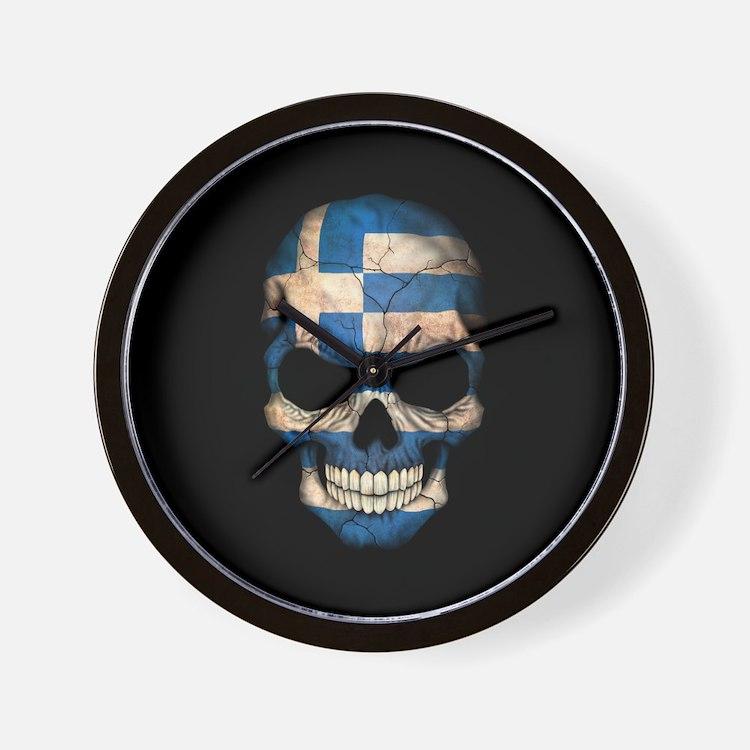Greek Flag Skull on Black Wall Clock