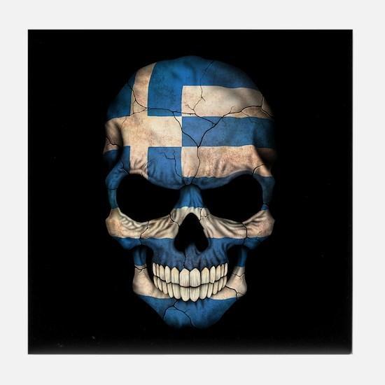 Greek Flag Skull on Black Tile Coaster