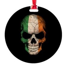 Irish Flag Skull on Black Ornament