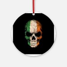 Irish Flag Skull on Black Ornament (Round)