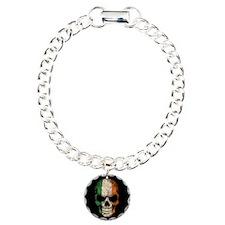 Irish Flag Skull on Black Bracelet