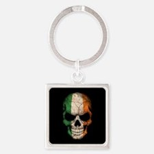 Irish Flag Skull on Black Keychains