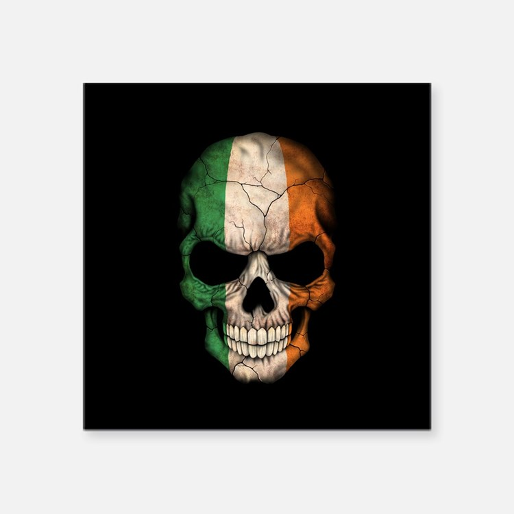 Irish Flag Skull on Black Sticker