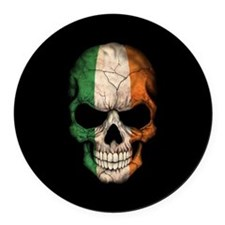 Irish Flag Skull on Black Round Car Magnet