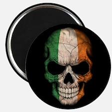 Irish Flag Skull on Black Magnets