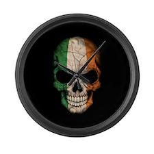 Irish Flag Skull on Black Large Wall Clock