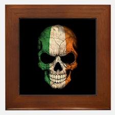 Irish Flag Skull on Black Framed Tile
