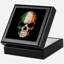 Irish Flag Skull on Black Keepsake Box