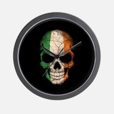 Irish Flag Skull on Black Wall Clock