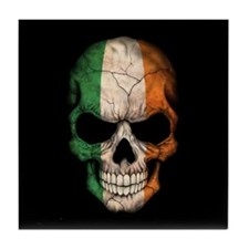 Irish Flag Skull on Black Tile Coaster