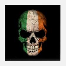 Irish Flag Skull on Black Tile Coaster
