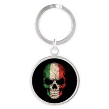 Italian Flag Skull on Black Keychains