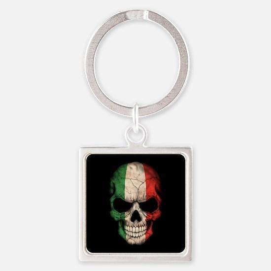 Italian Flag Skull on Black Keychains