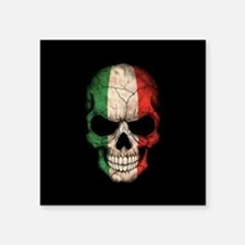 Italian Flag Skull on Black Sticker