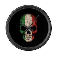 Italian Flag Skull on Black Large Wall Clock