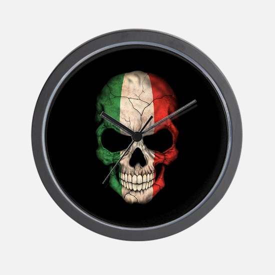 Italian Flag Skull on Black Wall Clock