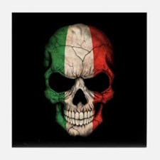 Italian Flag Skull on Black Tile Coaster