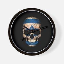 Israeli Flag Skull on Black Wall Clock