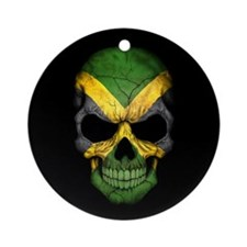 Jamaican Flag Skull on Black Ornament (Round)