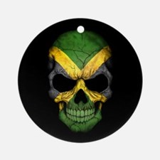 Jamaican Flag Skull on Black Ornament (Round)