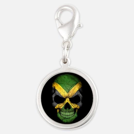 Jamaican Flag Skull on Black Charms