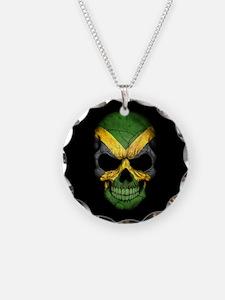 Jamaican Flag Skull on Black Necklace