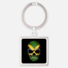 Jamaican Flag Skull on Black Keychains