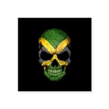 Jamaican Flag Skull on Black Sticker