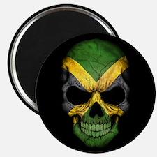 Jamaican Flag Skull on Black Magnets