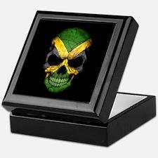Jamaican Flag Skull on Black Keepsake Box
