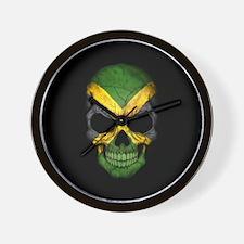 Jamaican Flag Skull on Black Wall Clock