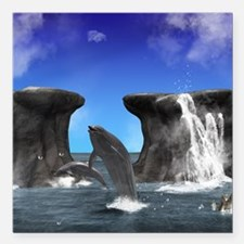 """Dolphins Square Car Magnet 3"""" x 3"""""""
